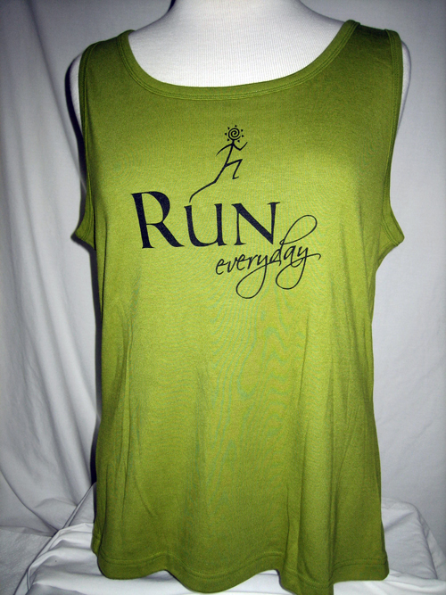 Run, sleeveless green tank
